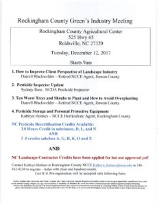 Cover photo for Rockingham County Green's Industry Meeting